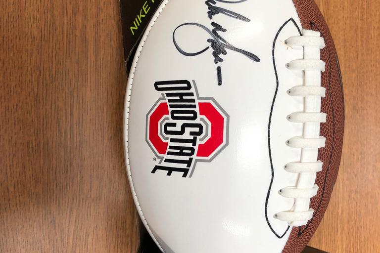 Signed Ohio State Nike Football by Urban Meyer