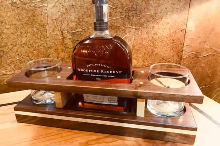 Bourbon Caddy and Woodford Reserve Bourbon Whiskey